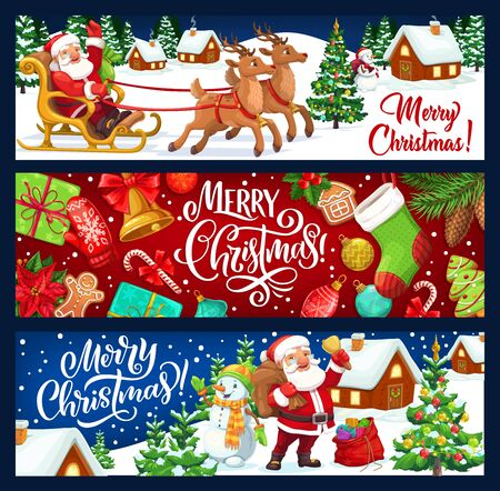Merry Christmas and New Year winter holiday vector banners. Santa, snowman and reindeer sledge, Xmas tree, gifts and presents, bell, ribbon bows and gingerbread, sock, candy and ball, snowflake, glove Illusztráció