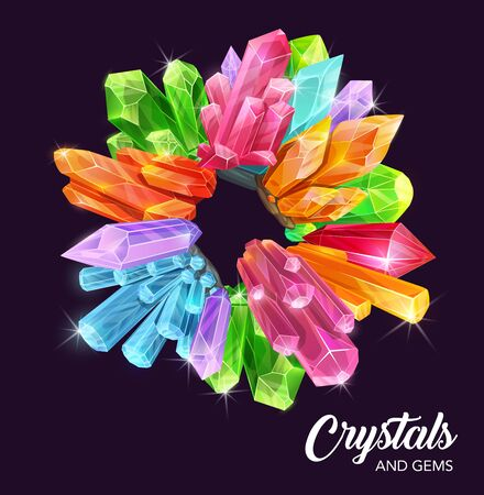 Crystals and gem stones vector wreath with magic and precious gemstones, mineral rocks. Diamond jewels, pink quartz and green emerald, blue sapphire, yellow citrine and topaz round frame with sparkles 向量圖像