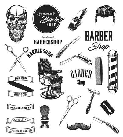 Iconos de vector vintage de peluquería, bigotes de barbería y símbolos de salón de afeitado de barba. Herramientas de equipo de barbero, tijeras y calavera hipster, maquinillas de afeitar, brocha de afeitar y secador de pelo, señalización de sillas y postes Ilustración de vector