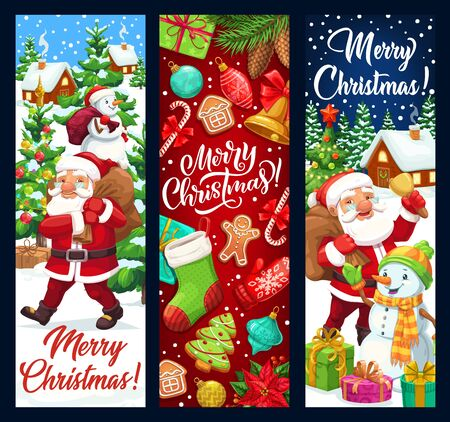Merry Christmas vector banners, winter holidays greetings and decorations. Santa with snowman carry gifts bag, Christmas tree lights and ornaments, sock and candy canes with gingerbread man cookie Illusztráció