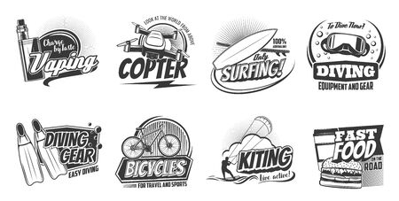 Sports activity and hobby leisure entertainment icons. Vector scuba diving school and equipment shop, vaping e-cigarette and ocean surfing, sea kiting and street fast food cafe sign