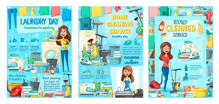 Sauberer Hausservice, chemische Reinigung und Wäscherei, Geschirrspülen und Housekeeping. Vector Hausfrau, die den Boden säubert und wischt, Kleidung bügelt, Handarbeiten, Reinigungsmittel und Schwämme näht