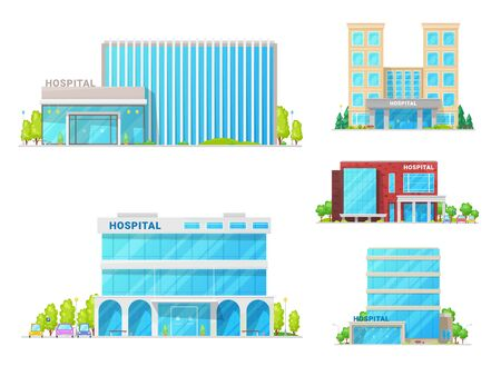 Hospital buildings, clinic ambulance and medical institution architecture facade icons. Vector modern medical center or state clinic buildings, modern urban infrastructure