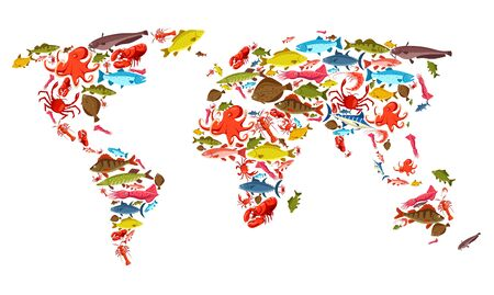 Mappa mondiale dei pesci e dei frutti di mare, della pesca marittima e dell'industria della pesca oceanica. Vector fisher frutti di mare e pesce pescato, luccio di fiume e trota, salmone e marlin con calamari e polpi frutti di mare, granchi e gamberetti Vettoriali