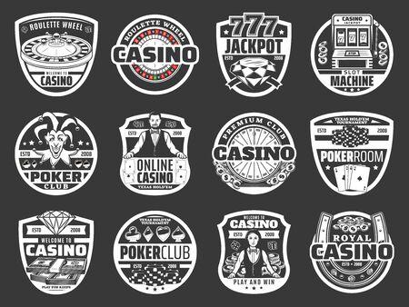 Casino-Poker-Spiel, Roulette-Jackpot-Geldgewinn, goldene Münzen spritzen. Vektor-Online-Casino-Glücksspiel und Glücksrad-Glücksspielautomat, Spielkarten, Chips und Würfel in Leuchtreklame