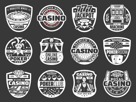 Juego de póquer de casino, premio gordo de ruleta, monedas de oro. Juego de casino en línea de vector y rueda de la fortuna, máquina tragamonedas de la suerte, naipes, fichas y dados en letrero de neón