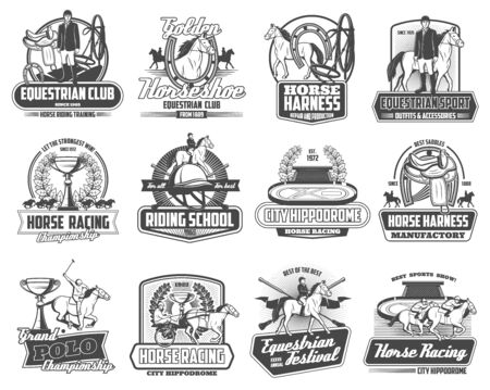 Equestrian horse races and equine sport club championship cup heraldic emblems. Vector jockey polo tournament, horse racing school sign, harness manufactory shop and equestrian festival