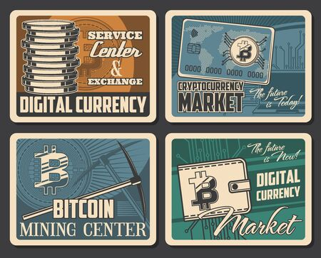 Bitcoin mining, cryptocurrency market and digital money blockchain technology retro vintage posters. Vector bit coins exchange and crypto currency wallet, virtual block chain and payment transactions