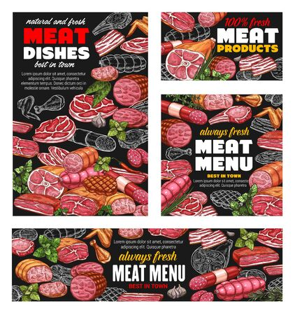 Butcher shop meat food menu, sausages and butchery gourmet delicatessen. Vector farm butchery products pork, lamb and beef steak or ham and bacon, filet and mutton ribs, salami and cervelat sausages