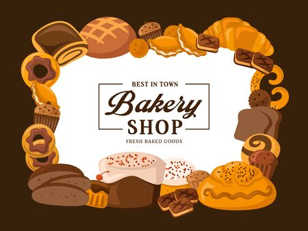 Bakery shop pastry desserts, bread and patisserie cookies poster. Vector premium baked food products, sweet cakes, croissants, wheat bagel and rye loaf, buns, chocolate donuts and cupcakes