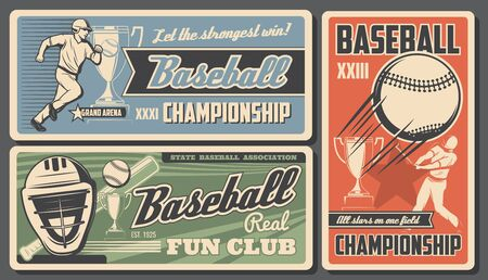 Baseball victory cup championship college fan club and sport league tournament. Vector vintage retro posters, softball team and baseball professional game on grand arena