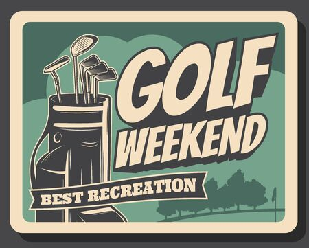 Golf club, premium leisure sport and best recreation weekend vintage retro poster. Vector professional golf championship tournament, golf ball and stick in bag and flag on putter 向量圖像