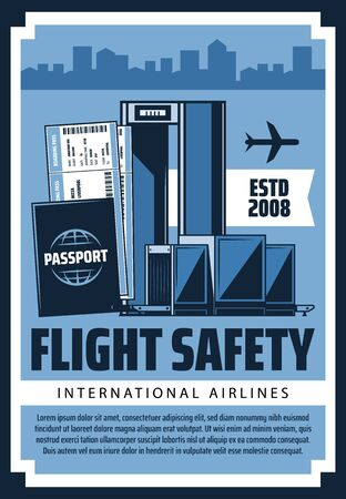 Air travel and tourism, international airport flights safety, passports, customs and security control. Vector civil aviation vintage retro poster, airplane at airport terminal and flight tickets