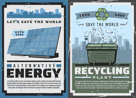 La energía alternativa y la industria de generación de energía ecológica, plantas de basura y carteles antiguos de conservación de la ecología. Vector Save World y protección de la naturaleza, fuentes de energía renovables en el ecosistema de la naturaleza Ilustración de vector