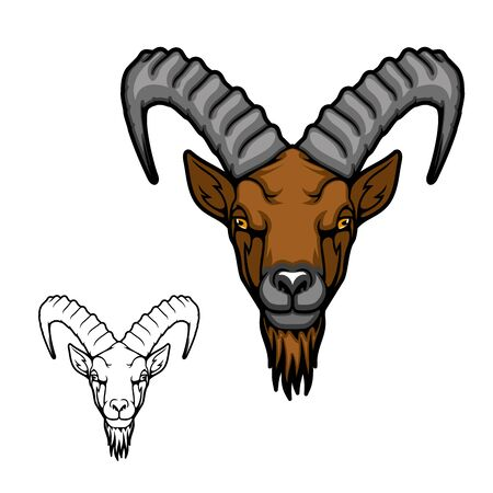 Mountain goat or ibex animal vector icon. Head of Alpine or Siberian tur with curved ridged horns, brown beard and fur, wild mammal of hunting sport club mascot and symbol design Ilustração