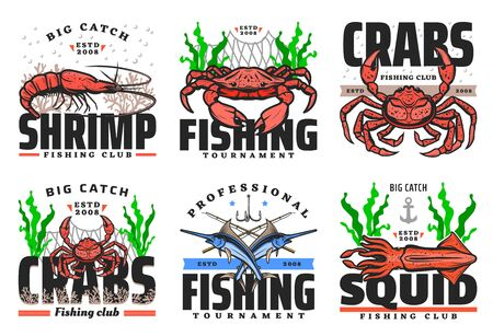 Fishing club, seafood and big fish catch tournament icons. Vector fisher equipment tackles, rods and lures for sea crab, ocean lobster and squid, marlin fish, shrimp and prawn in ship net Illustration