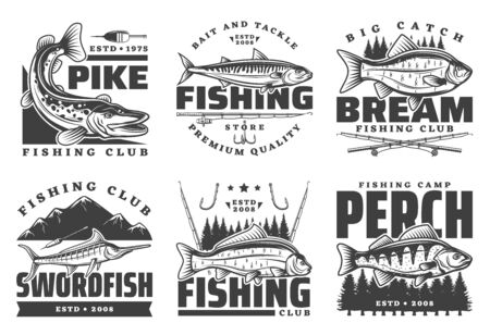 Fishing club badges, fisherman summer camp and big fish catch tours. Vector fishing tournament badges, fisher equipment tackles, rods and lures for river pike and bream, ocean swordfish and lake perch Vettoriali