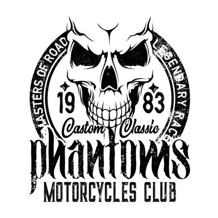 Bikers club emblem, skull icon, custom motorcycle racers and motorbike racing. Vector Phantom and Road Master grunge T-shirt print, chopper motorbike gang garage emblem Vector Illustratie