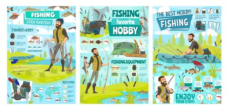 Sea fishing sport and big fish catch hobby, fisher tackles, lures and equipment infographics. Vector fisherman in rubber boat at river with rod, fisherman camping tent and seafood baits