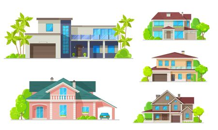 Houses, mansions and residential real estate buildings architecture. Vector modern family cottage houses and villa apartments, urban property terraces, carport garages and luxury private apartments  イラスト・ベクター素材