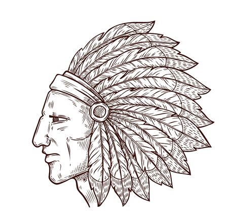 Cabeza de jefe indio y tocado de plumas de águila tradicional, icono de grabado de boceto. Vector símbolo de la cultura de la tribu occidental y nativa americana del guerrero jefe indio, icono monocromo Ilustración de vector