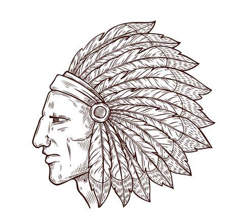 Testa del capo indiano e tradizionale copricapo di piume d'aquila, icona dell'incisione dello schizzo. Simbolo della cultura della tribù occidentale e dei nativi americani di vettore del guerriero capo indiano, icona monocromatica Vettoriali