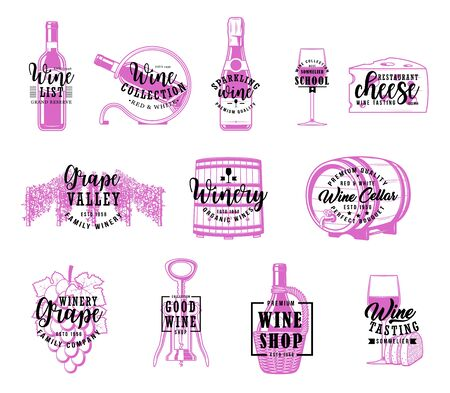 Wine shop, winemaking house and restaurant menu lettering calligraphy. Vector winery grand reserve wooden barrel, sommelier school and wine production compny, bottle corkscrew and grapes vineyard
