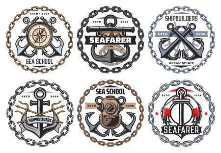 Nautical ship anchor and vintage aqualung icons, ocean spirit and seafarer captain signs. Vector sea school badge, marine heraldic symbols of frigate cannon and crossed boat anchor in chain