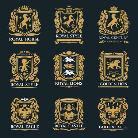 Animales heráldicos, emblemas de heráldica real, caballo Pegaso, león Grifo e íconos de águila medieval. Vector de escudos heráldicos imperiales y escudo de armas, grifo y grifo con corona real dorada