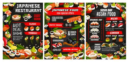 Japanese sushi bar, Asian cuisine food and sashimi rolls menu. Vector Japan restaurant dinner and lunch buffet food offer, California roll and Philadelphia sushi, temaki and gunkan, fish and seafood