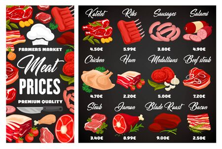 Butcher shop meat and sausages price menu, farm market butchery food products. Vector butcher gastronomy kotelets, mutton ribs and salami sausage, chicken poultry and beef steak, ham and pork bacon Ilustração Vetorial