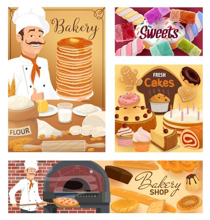 Bakery shop bread, baked desserts and pastry sweet cookies. Vector baker man in chef hat at kitchen oven kneading dough, cooking pizza and patisserie cakes, croissants, wheat bagel buns and donuts