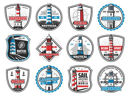 Lighthouse, marine beacon, anchor and ship helm heraldic icons. Vector nautical lighthouse tower, sailing maritime adventure, compass and ship chain badges, ocean waves, seagulls and frigate ship Illustration