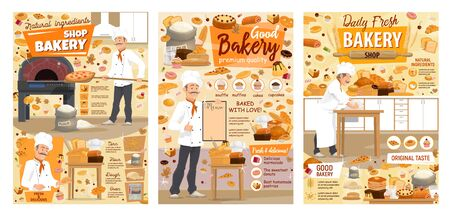Bakery shop bread, pizza, desserts and pastry sweet cookies. Vector baker man in chef hat at kitchen oven kneading dough, cooking patisserie cakes, croissants, pancakes and wheat pies