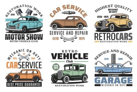 Vintage old cars repair service, rarity vehicle motors garage station icons. Vector retro transport restoration works center, engine repair, mechanic maintenance and check-up diagnostics
