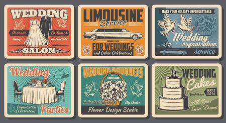 Wedding organization service, limousine car rental and bride dress tailor salon vintage posters. Vector wedding cakes, honeymoon celebration and marriage dinner party, flowers design studio