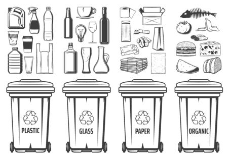 Trash recycling bins icons, plastic, glass or paper and organic wastes PET symbols. Vector recycle bin containers with food wastes and reusable litter, garbage segregation and environment conservation Banque d'images - 135740372