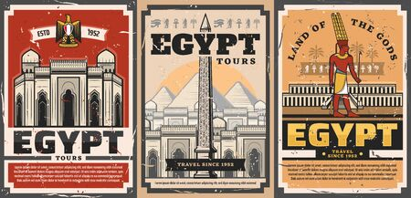 Ancient Egypt travel trips and landmarks sightseeing tours retro vintage posters. Vector ancient Egypt city and culture tourism, Giza pharaoh pyramids and Cairo mosques architecture
