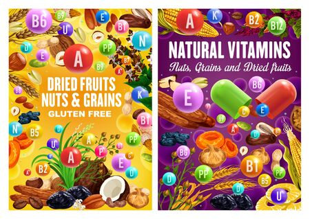 Dried fruits, nuts and cereal grains, natural organic gluten free food nutrition. Vector healthy vegan raw figs, plum prunes and dried apricot, corn, wheat and rye grain, coconut, hazelnut and almond Illustration