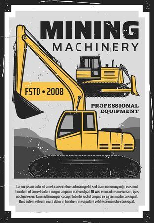 Coal production, mining industry professional equipment and machinery bulldozer vintage retro poster. Vector coal extraction factory, excavation mining and transportation