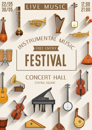 Live music festival, sound band concert hall performance poster. Vector music instruments, piano, violin and jazz saxophone, folk guitars, Russian accordion harmonica, Japanese shamisen and mandolin
