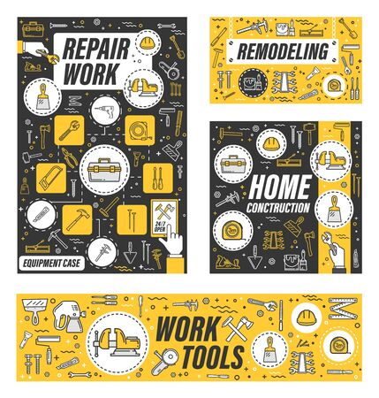Hose remodeling work tools, home renovation and house construction service. Vector handyman carpentry, masonry and woodwork hand tools, drill and saw, paint, construction hammer and ruler toolkit