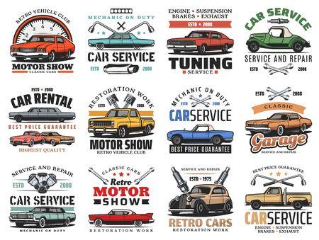 Autowartungsservice, Autoreparatur und Diagnose-Autocenter-Symbole. Vektor-Retro-Autos-Motorshow und Oldtimer-Automobilclub, Vermietung und Tuning, Motorölwechsel und Abschleppwagen-Service