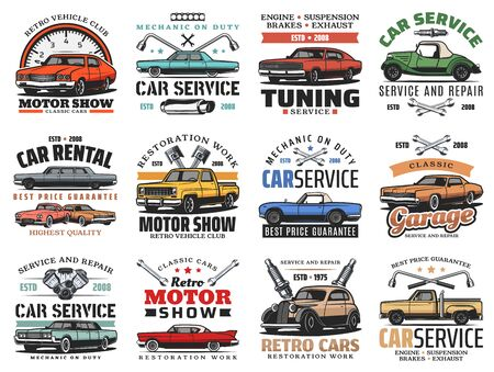 Car maintenance service, automobile repair and diagnostics auto center icons. Vector retro cars motor show and vintage automobile club, rental and tuning, engine oil replacement and tow truck service