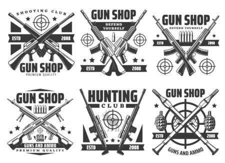 Guns and shotguns shop icons, personal defense ammunition and hunting ammo. Vector military or training shooting ammunition, premium quality bullet rifles and grenades store, hunter shooting range  イラスト・ベクター素材