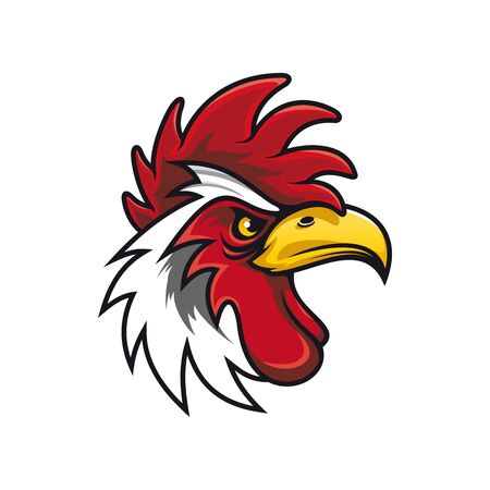 White cock head isolated mascot bird. Vector rooster, chicken mascot, fighting gamecock