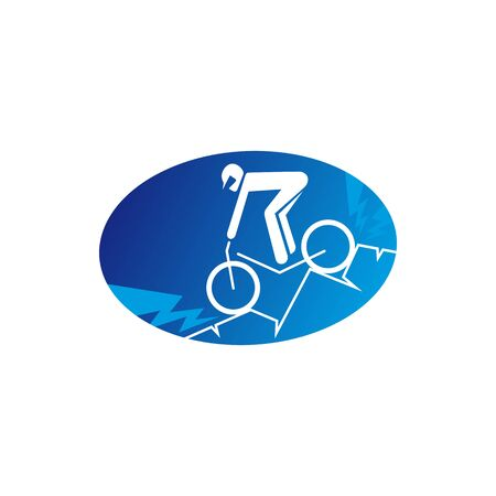 Sportsman on mountain bike isolated icon. Vector cyclist on bicycle, extreme sport racing