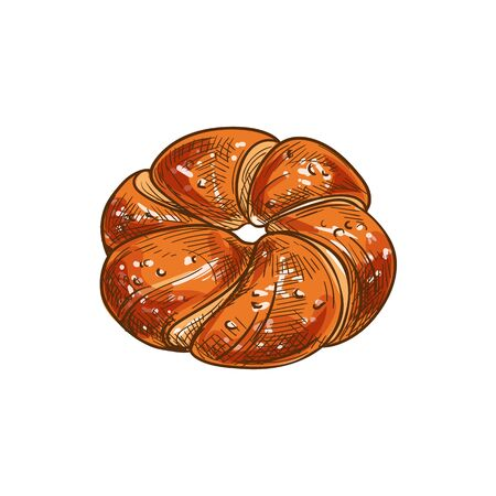 Bakery product vector, bun with sweet powder sketch icon. Pastry food of wheat dough