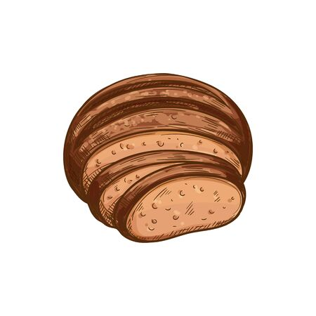 Brown bread loaf vector icon, bakery product. Round pastry food and slices sketch Ilustração
