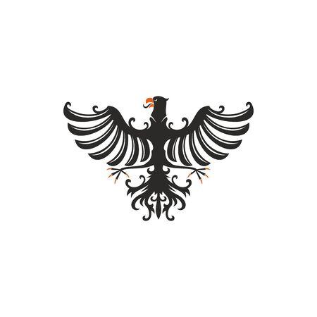 Oiseau isolé d'aigle héraldique avec des ailes ouvertes. Faucon noir de vecteur ou faucon avec la queue de plume écartée